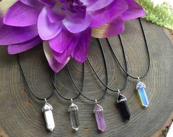"Crystal Necklace, 17"" Black Cord,  Amethyst, Opalite Rose Quartz, Obsidian, Fluorite, Aventurine, Jasper, Clear quartz, Amazonite,"