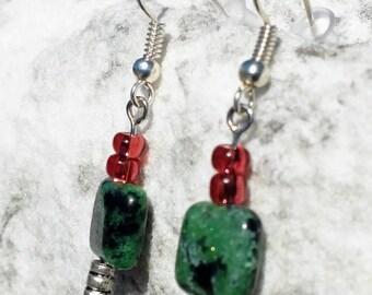 Ruby in Zoisite Dangle Earrings