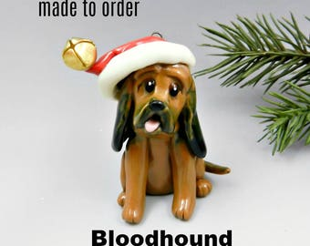 BloodHound Dog Made to Order Christmas Ornament Figurine in Porcelain