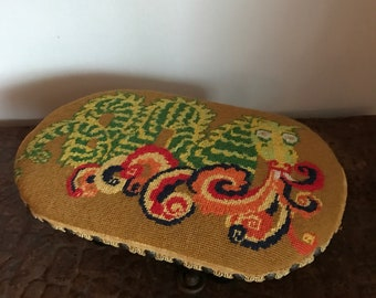 Vintage Puff the Magic Dragon Stool Needlepoint Tacks 420 Mid Century Modern Stool Footstool Unicorn