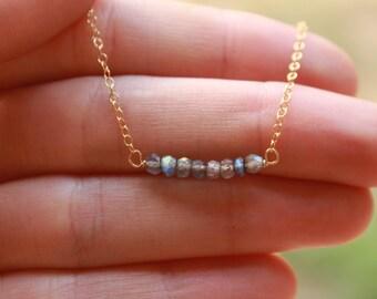 Labradorite Bar Necklace, Minimalist, Delicate, Layered, Labradorite Dainty Necklace, Labradorite Necklace, Gemstone, Layering Necklace