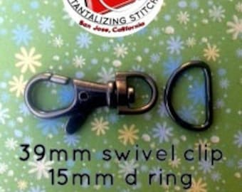 39mm / 1.5 Inch Swivel Clips with Matching D Ring in Gun Metal, Nickel, and Antique Brass Finish - Choose from 240, 600, and 1500 sets