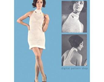 Crochet Dress Pattern, Racer Back Dress, Mod Dress Back Strap Crochet Pattern Womens T-Back Mesh Shift Dress PDF Instant Download - C168