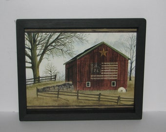 Barn Bicentennial Flag Farm Fence Star 9 inch x 11 inch Primitive Country Wall Decor
