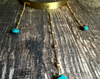 Turquoise Choker,Turquoise Choker Necklace,Choker with Chains,Boho Choker Necklace,Neck Cuff with Chains,Gold Neck Cuff,Turquoise Neck Cuff