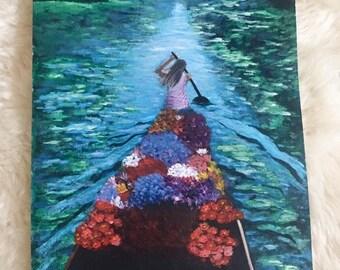 Original Flower Boat painting, Thailand painting, floral painting, flower boat art