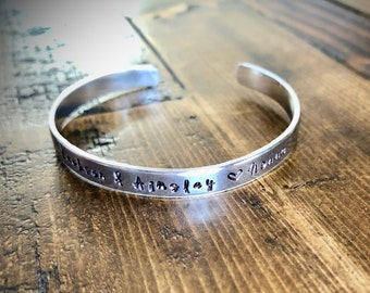 Personalized Cuff Bracelet - Custom Names - Custom Quote