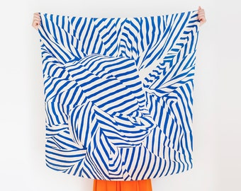Free Shipping Worldwide / Stripe furoshiki (navy) Japanese eco wrapping textile/scarf, handmade in Japan