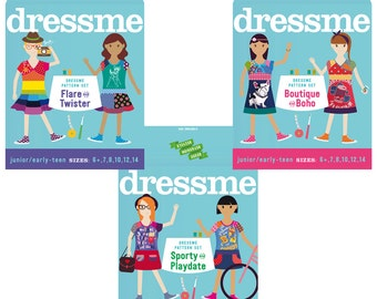 Pdf sewing pattern girls upcycled dresses complete Set 6+–14