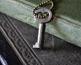 Miniature Antique Skeleton Key Necklace - Key To My Heart Necklace - Primitive Miniature Key Necklace - Skeleton Key Pendant Necklace