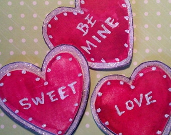 Valentine's Day Paper Pieces - Conversation Heart Embellishments