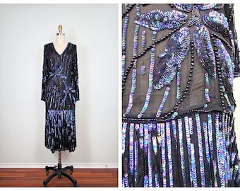 Sheer Iridescent Sequin Black Dress // Sheer Silk Sequined Dress Small XS S