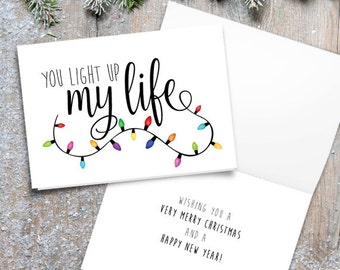 You Light Up My Life Digital 5x7 Printable Folded Card - Size When Opened Is 10x7 - Merry Christmas Lights Happy Holidays Love Saying Quote
