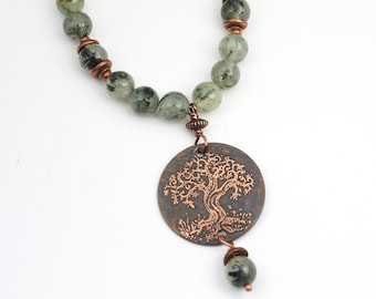 Copper tree necklace with green prehnite beads, etched metal, 21 inches long