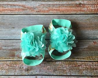 Mint Barefoot Sandals, Baby Barefoot Sandals,Aqua Barefoot Sandals, Baby Sandals, Newborn Sandals, Newborn Shoe, Baby Girl Shoes, Baby Shoes