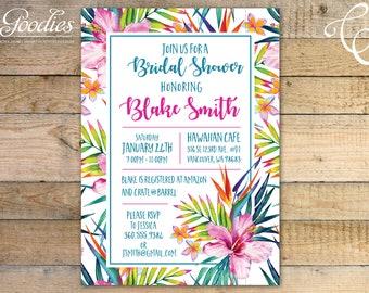 Tropical Palms Bridal Shower Invitation - Baby Shower, Birthday Party, Wedding Shower, Luau, Shower, Summer, Tropic, Invitation, End of year