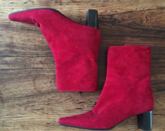 Vintage 90s red genuine suede boots