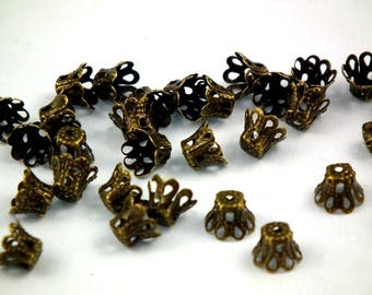 ♥ 50 PCs caps filigree antique bronze 6mm ♥