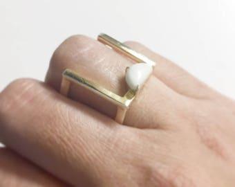 Minimalist ring, Geometric ring, Ring white stone, open square ring, Bar ring, Half moon cut, Gemstone ring, Modern ring, Cuff ring