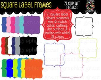 Label Frame Digital Clipart Frame Clip Art Printable Dot Frame Square Clipart Digital Frame Scrapbook Clip Art - Instant Download