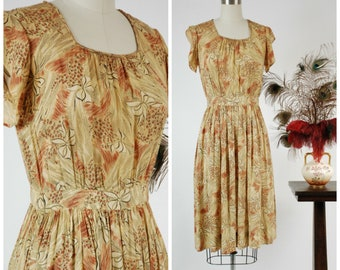 1940s Vintage Dress - Summer 2018 Lookbook - Breezy 40s Day Dress in Warm Yellow and Caramel Brown with Bow Print