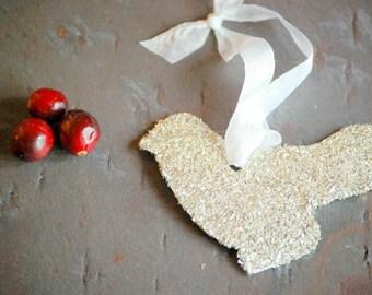 Bird Cardinal Favor Gift Tag with Silver German Glass Glitter Teacher Gift Hostess Gift Decor Decoration  Favor