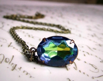 Vintage oval Colorful blue and green Vitrail glass jewel necklace, simple necklace, elegant bridal  jewelry, something blue