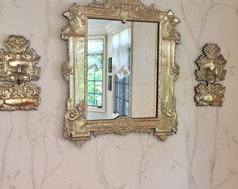 Silver  Mirror and Sconces