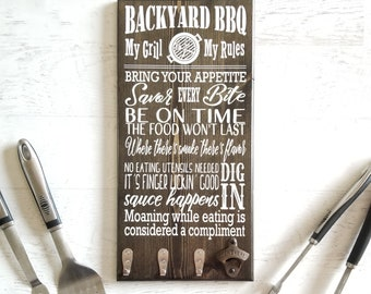 BBQ Sign || BBQ Gift, Grill Sign, Grilling Gifts, BBQ Grill, Fathers Day Grilling Gift, Beer Bottle Opener, bbq Utensil Holder, Gift for Dad