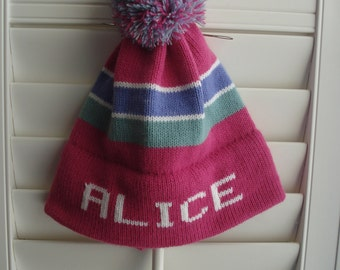 Personalized and machine washable child's knit hat -   Alice , Megan
