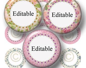 "Cottage Chic, Editable Bottle Cap Images, Digital Collage Sheet, Instant Download, 1 Inch Circles, (cc1) 1"" Editable Circles, Collage Art"