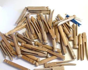 Clothes Pins, Vintage Clothes Pins, Wood Clothes Pins, 50 Round Clothes Pins, Vintage, Supplies, Wood, Craft Supplies, Decor, Rustic
