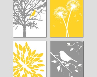 Yellow Gray Art Quad - Set of Four 11x14 Nursery Prints - Bird in a Tree, Bird on a Branch, Dandelions, Abstract Floral - Choose Your Colors