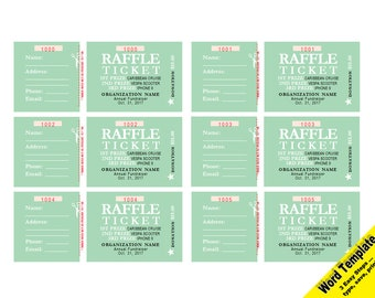 RAFFLE Tickets, Editable WORD Template, Printable, Instant Download, You EDIT Word Template, Diy Editable Ticket, Custom Raffle Tickets
