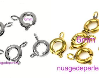 5 round clasps choose Tibetan silver or metal color gold plated 6mm