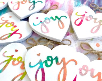 """Hand painted hand lettered """"Joy"""" wooden mini heart / Valentines Decor / Mini happy gift for her / Colorful heart art"""