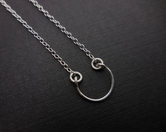 Semicircle Arc Necklace, Sterling Silver Jewelry, Small Circle Necklace, Minimalist Jewelry