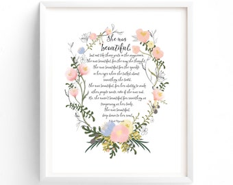 Quotes art, calligraphy print, She was beautiful, F Scott Fitzgerald Quote  Inspirational, Motivational, Flowers