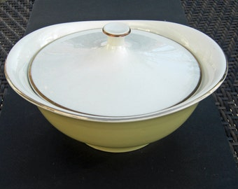 Taylor Smith Taylor Classic Shape - Sunburst Yellow and White with Gold Trim - Covered Casserole - 1950s