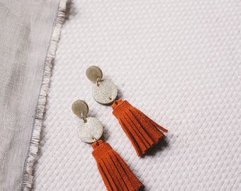 Bronze Clay & Orange Suede Leather Tiered Circle Tassel Earrings