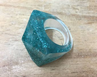 Teal glitter eco-resin chunky statement ice ring