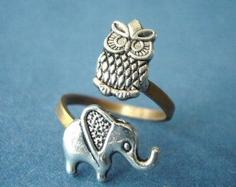 Silver owl ring with an elephant, adjustable ring, animal ring, silver ring, statement ring