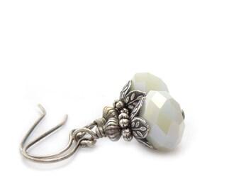 White Earrings - Faceted Glass Dangles - Antiqued Silver - Vintage Inspired - Petite Dangles - Bridal Wedding Earrings