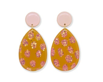 Dazzling Mustard - Statement Earrings - Clip On Statement Earrings - Dangle Earrings - Mustard Yellow - Pink - LualBoutique