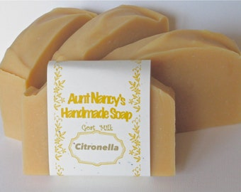 Citronella Handmade Soap - All Natural Homemade Goat Milk Soap Scented With Citronella Essential Oil - Campers Soap