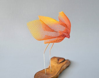Small bird sculptures, Abstract bird, Metal sculpture, Contemporary metal art, Decorative modern art, Orange bird