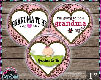 """Grandma To Be 638 - INSTANT DIGITAL DOWNLOAD - 1"""" Bottlecap Button Bow Images (4x6) Digital Collage Sheet"""