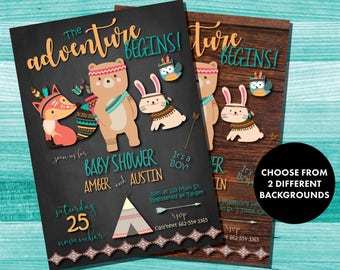 Tribal Baby Shower Invitations | Tribal Animals | Couples Baby Shower | Aztec Baby Invite | Native American Baby Shower | Chalkboard | Wood