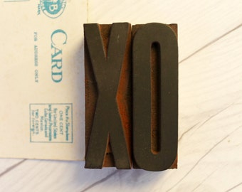 XO Letterpress Letter Blocks from the 1930s, Vintage Letterpress XO - Hugs and Kisses [Inventory #2]