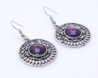Lavish Faceted Iolite 925 Silver Earrings
